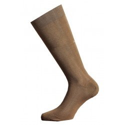 LONG SOCKS 100% COTTON LISLE MADE IN ITALY - LIGHT BROWN