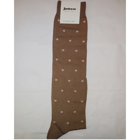 LONG SOCKS POIS BEIGE-MERCERISED COTTON