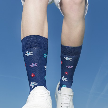 SHORT SOCKS BLUE WITH FLOWERS