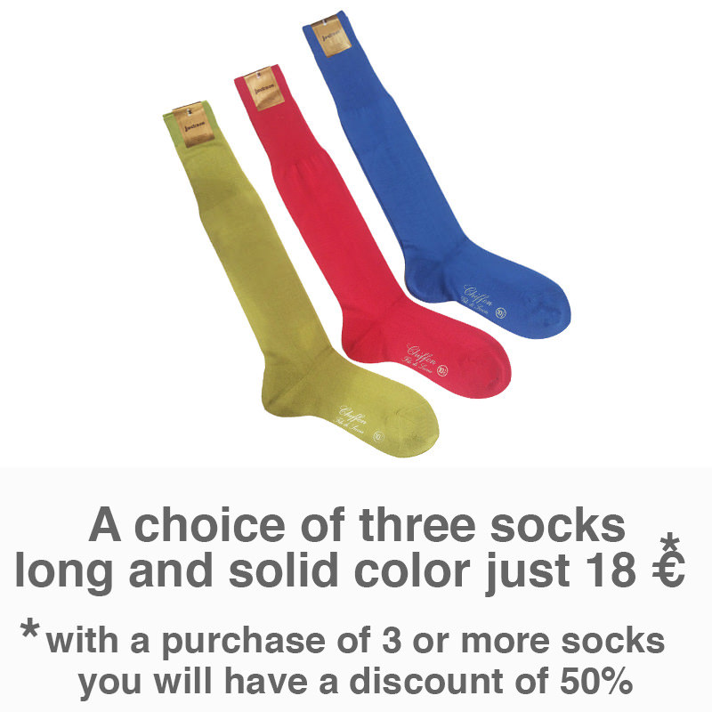 Special offer three pair of long solid color socks only 18€