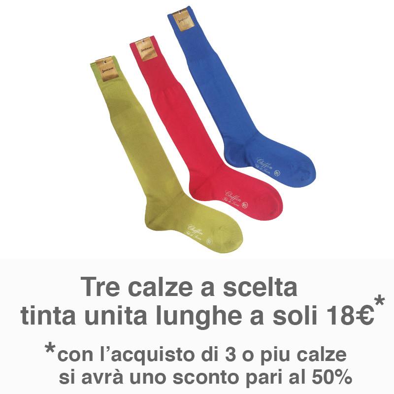 Offerta tre calze tinta unita lunghe a soli 18€
